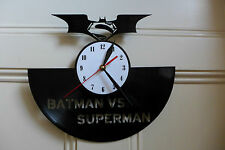 Batman & Superman design vinyl record clock home decor art playroom shop move #