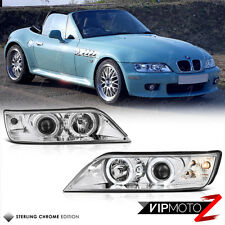 96-02 BMW Z3 Dual Halo Projector Euro Chrome Headlight Lamps Assembly Left+Right