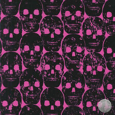 138000226 - Numb Skulls Candy Pink Cotton Fabric by the Yard Bright Biker Black