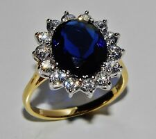 "9ct Yellow Gold & Silver Blue Sapphire ""Lady Diana"" Large Cluster Ring - size M"