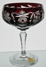 Nachtmann Traube Ruby Red Cut to Clear Crystal Champagne Sherbet Goblet Glass