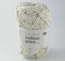 Rico Creative Cotton Aran Print Knitting & Crochet Yarn - Green Lilac Spray 018