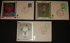 JAPAN 3 DIFFERENT 1980'S SILK  FIRST DAY COVERS FDC