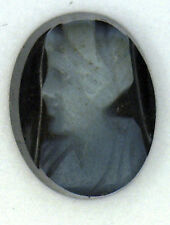 Antique Carved Oval Miniature Onyx Jet Cameo Stone Facing Left 9.5 x 7 mm #N624
