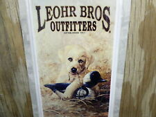 """17""""x5"""" METAL TIN THERMOMETER LEOHR BROS OUTFITTERS YELLOW LAB DUCK HUNTER A35"""