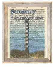 Bunbury Lighthouse Australia Altered Art Print Upcycled Vintage Dictionary Page
