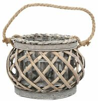 Large Wood And Willow Hurricane Lantern Candle Holder