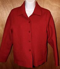 EILEEN FISHER Red Boiled Wool Cardigan Jacket Collared Button Up Womens Est. XS