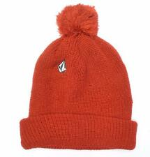 Volcom Full Stone Pom Cuffed Slouch Beanie Solid Red Hat Cap New NWT