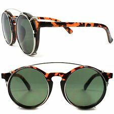 Tortoise Old Vintage Retro Funky Goth Style Steampunk Round Clip-Ons Sun Glasses
