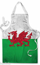 WELSH GRUNGE FLAG APRON KITCHEN BBQ COOKING PAINTING FATHERS DAY GREAT GIFT