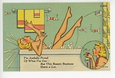 """Awfully Proud"" BEAUTIFUL ART DECO Nude Woman Bathtub Vintage Linen Pinup 1940s"