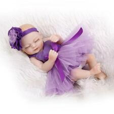 Nicery Reborn Baby Doll Soft Silicone Girl Toy 10in. 26cm Waterproof Purple NPK