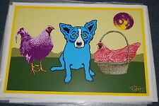 George Rodrigue Blue Dog Chicken In A Basket Silkscreen Print Signed Numbered