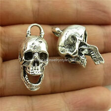 13980*5PCS Antique Silver Ghost Skull Skeleton Pendant Charms Jewelry Making