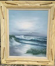 """VINTAGE NAUTICAL OIL PAINTING ON CANVAS, ROPE FRAME, SIGNED """"W. DAWSON"""", VG"""