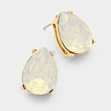 LUSH Gold White Opal Crystal Stud Cocktail / Bridal Earrings By Rocks Boutique