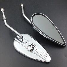 Chromed Aluminum Skull Mirrors Fit For Sportster FXE Low Rider FXSB FXWG