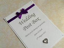 PERSONALISED WEDDING POST BOX SIGN WHITE CARD WITH SATIN RIBBON & HEART