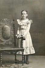 Preteen girl, elegant chair 1880s Victorian photo CHOICES 5x7 or request 8x10 or