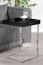 Beistelltisch Couchtisch COMFORT schwarz+verchromt m Tablett Design Tisch Ablage