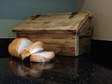 CHUNKY RUSTIC BREAD BOX  ~ WITH ANTIQUE HINGES - HAND MADE