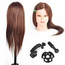 100% Real Human Hair Hairdressing Training Head Mannequin Doll Head + Free Clamp