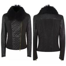 Roberto Cavalli Class Black Leather Panel Biker Jacket With Real Fur Collar