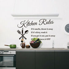 Kitchen Rules Letter Removable Wall Stickers DIY Home Decor Mural Decals Vinyl