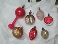 Antique German Miniature Glass Feather Tree Christmas Ornaments Fancy Shapes
