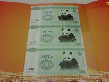 2015 China Panda Test Note Uncut 3in1 with folder (UNC), #2