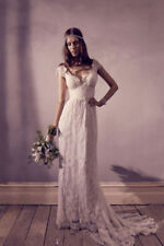 Vintage Wedding Dresses V Neck Princess Lace Boho Bridal Gown Custom Size
