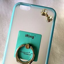 For iPhone 6 / 6S - HARD RUBBER GUMMY CASE COVER BLUE DIAMOND BOW RING HOLDER