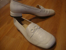 SALVATORE FERRAGAMO WHITE LOAFER WOMEN SHOES SIZE 9AA ITALY