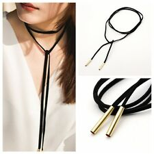 Retro Double Layers Black Leather Rope Long Sweater Chain Women Choker Necklace