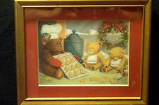 Gold Frame Teddy Bears Print Blue Cookie Jar Red Mat Shabby Cottage Art Picture