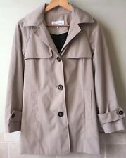 Womens Calvin Klein Camel Lined Cotton Doublebreasted Trench Coat Hooded Size XS