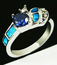 Blue Fire Opal Rainbow sapphire Women Jewelry Silver Plated Ring Size 8 Gift PM9
