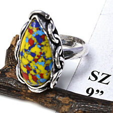 """FREE SHIPPING MOSAIC JASPER 925 STERLING SILVER OVERLAY VINTAGE RING 9"""" JEWELRY"""