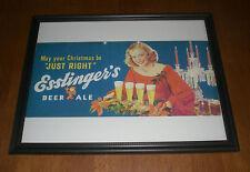 ESSLINGER'S BEER & ALE FRAMED COLOR CHRISTMAS AD PRINT