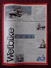 1979 Print Ad WETBIKE Watercraft Jet Ski ~ A Motorcycle on Water Not a Wet Idea