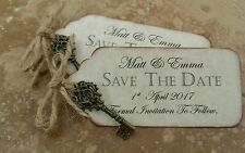 SAVE THE DATE TAGS, with key charm, envelopes, fridge magnet X 50