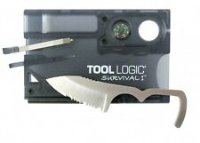 Tool Logic SVC1 Survival Card 1/2 Serrated Knife, Fire Starter, Whistle, Compass