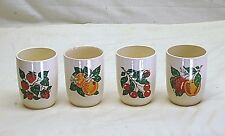 Old Vintage Set 4 Juice Glasses Strawberry Orange Cherry Apple Ceramic Unknown