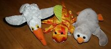 Lot of 3 Plush Hand Puppets - Caltoy Pelican, Gray Penguin & Orange Dinosaur