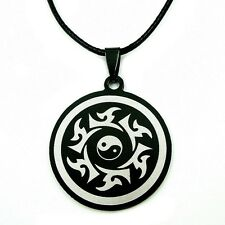BLACK STAINLESS STEEL YIN YANG NECKLACE Charm Martial Arts NEW Tai Chi Pendant