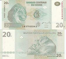 Congo P94A, 20 Francs,  Lion, lion family at Kundelongu Park, 2003 UNC