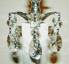 "10~""Asfour 30% Lead Crystal"" Silver Tear Drop Chandelier~Lamp Prisms~NEW!"