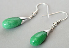 New Pair Mix-color Green Drop Jade &925 Sterling Silver Dangle Earrings