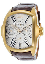 New Men's Invicta 18899 Lupah Silver-tone Dial Brown Leather Watch